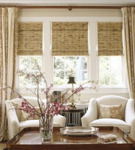 woven woods with drapes - Woven Wood Shades
